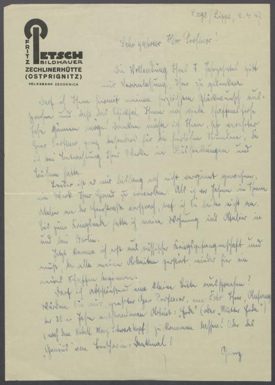 Brief von Fritz Petsch an Georg Kolbe