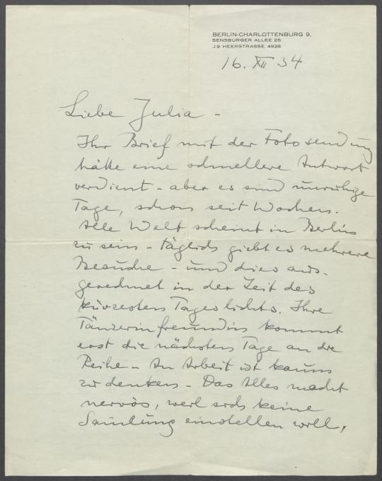 Brief von Georg Kolbe an Julia Hauff