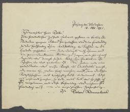 Brief von Richard Riemerschmid an Georg Kolbe
