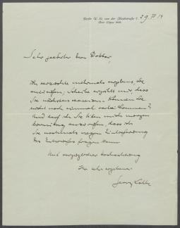 Brief von Georg Kolbe an Johannes Sievers