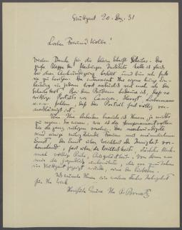 Brief von Paul Bonatz an Georg Kolbe
