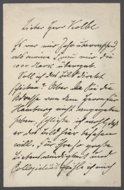 Brief von Lovis Corinth an Georg Kolbe